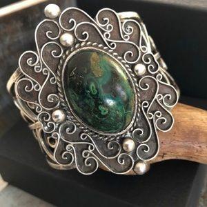 Jewelry - Vintage sterling kambaba jasper cuff